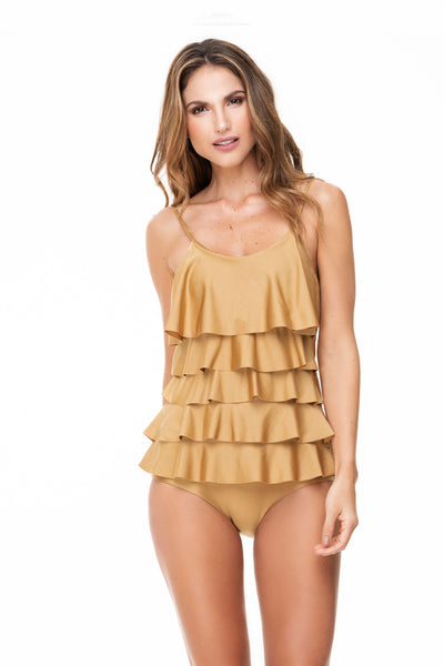 RUFFLED GOLD ONE PIECE
