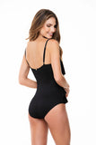 RUFFLED CORRUGATED BLACK ONE PIECE