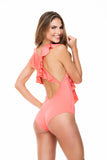 RUFFLED STRAPS CORAL ONE PIECE