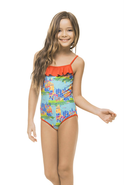 BOATTRIP GIRLS' RUFFLED ONE PIECE