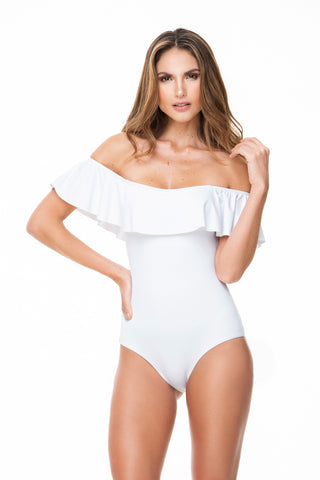 RUFFLED SHOULDERS NECKLINE ONE PIECE