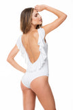 RUFFLED BACK WHITE ONE PIECE