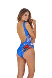 SQUARE NECKLINE RED BLOOM ONE PIECE.