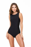 FRONT KNOTTED BLACK ONE PIECE