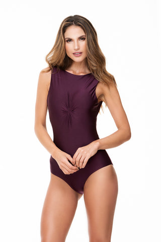 KNOTTED FRONT GRAPE ONE PIECE