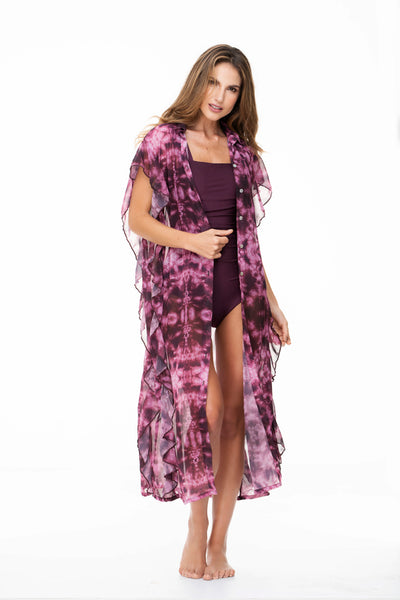 RUFFLED SIDES TIE DYE LONG DRESS