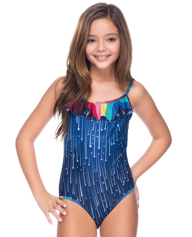 RUFFLED NECKLINE ARTSYLAND GIRL ONE PIECE