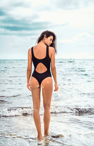 BLACK KNOTTED ONE PIECE