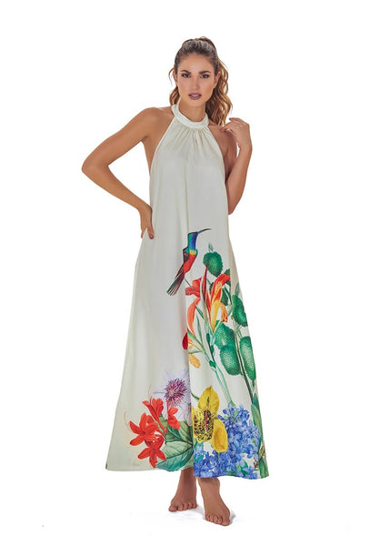 Orchid garden Halter Maxi Dress