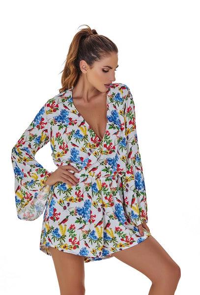 Orchid garden Long Sleeve V Cleveage Romper