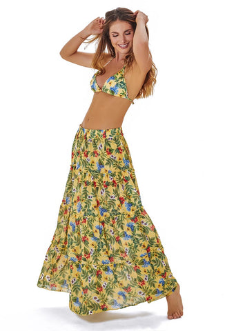 Orchid garden Long patch Skirt