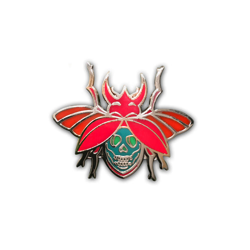 Red Skull Beetle Pin