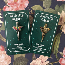 Black and Gold Butterfly Dagger Pin