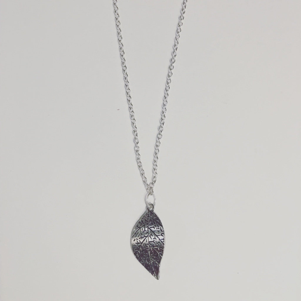 Beautiful Silver Leaf Necklace.  Check out the matchings earrings too
