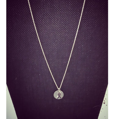 Silver Charm with Awareness Ribbon Necklace ( charm available in gold and silver and can be engraved)