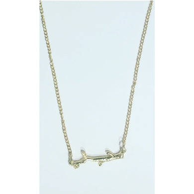 Horizontal Gold Branch Necklace.