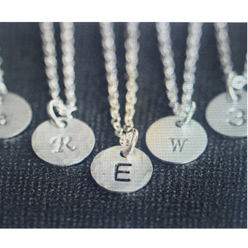 New Silver Engraved Circle Charm Necklace (Please include the length of the necklace and The Initial(s) you would like.