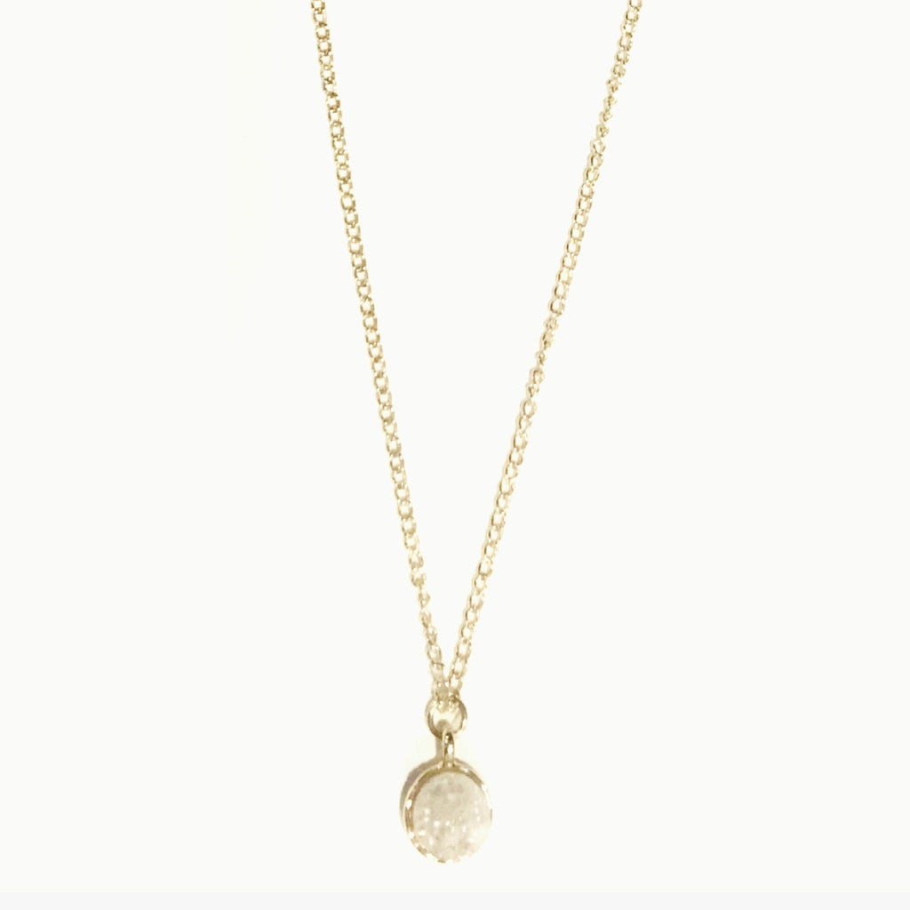 Beautiful White Crystal Gem Gold Necklace.