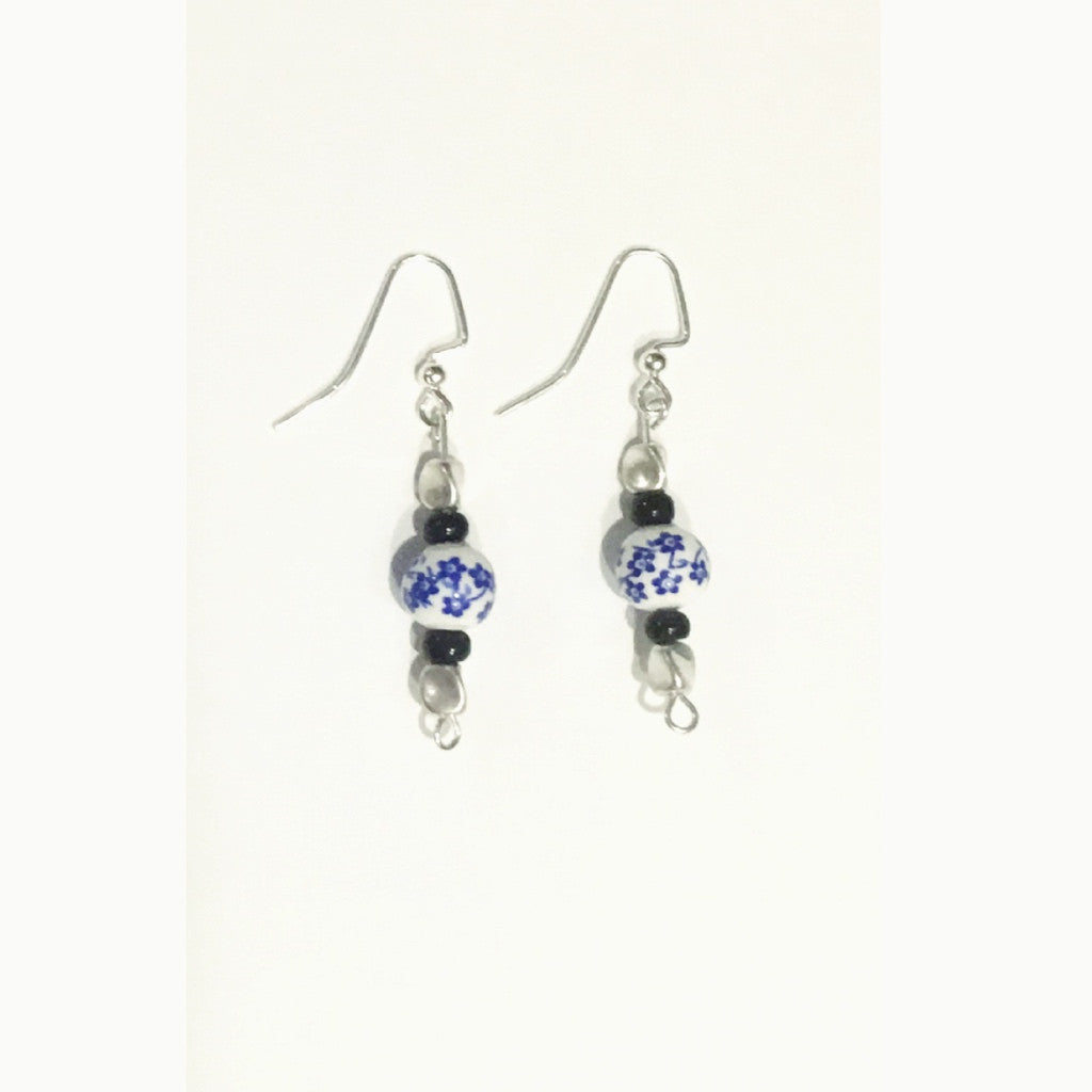 Silver Earrings with Vintage Bead