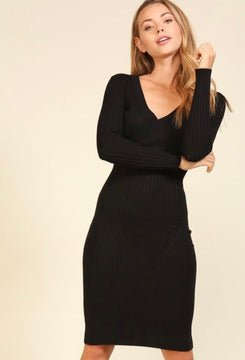 Black v-neck sweater dress for all occasions