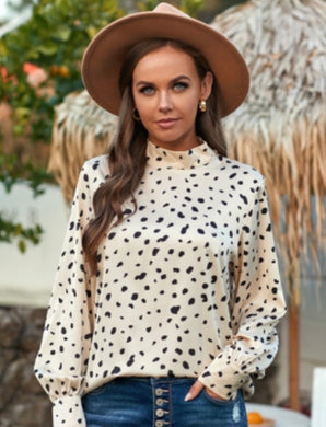 PRESALE Animal Print Sheer Blouse (cream and black)