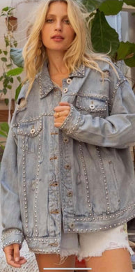 Rhinestone Oversized  Designer Jacket Made with Quality Denim