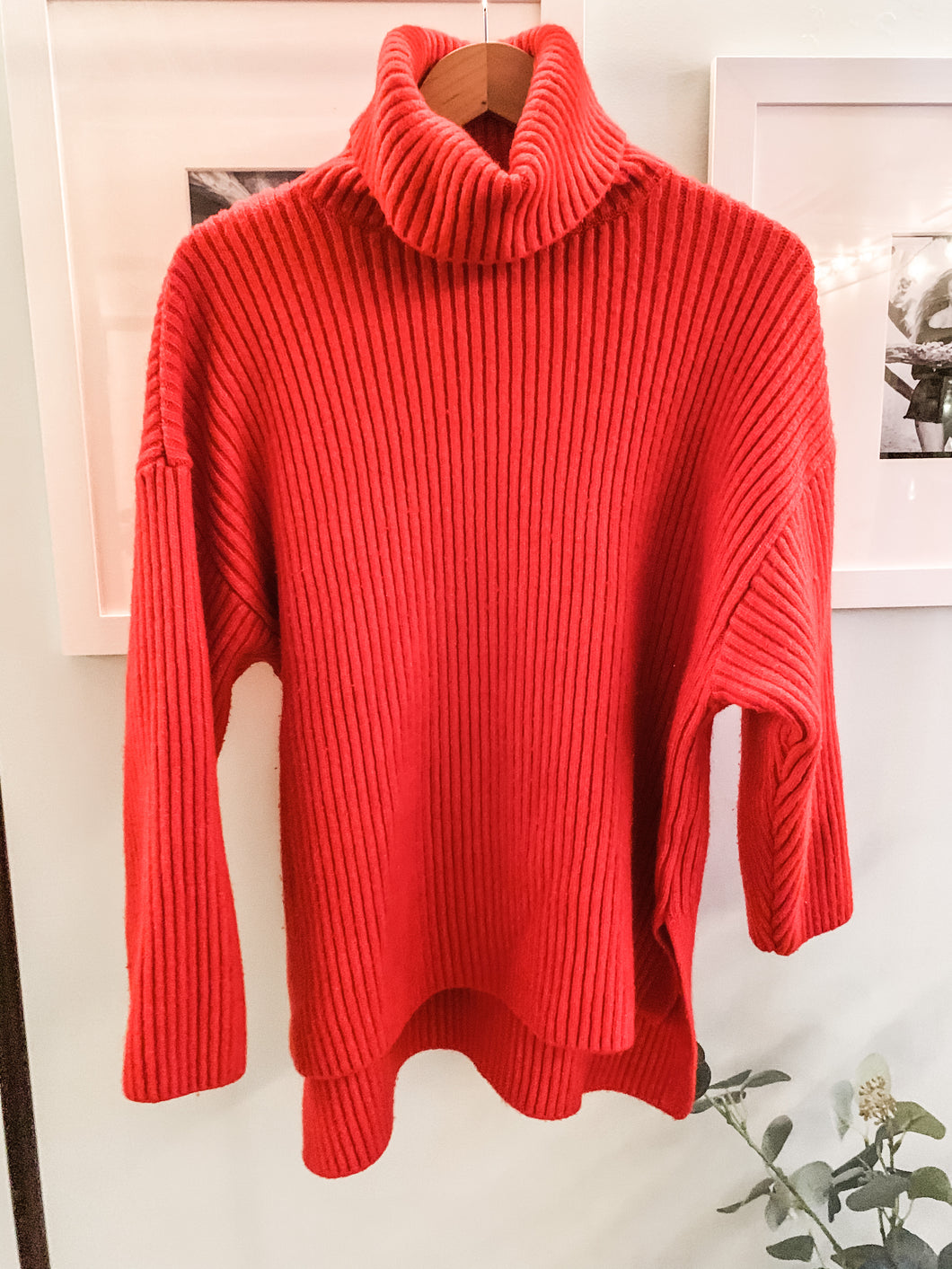 H & M cozy red turtleneck sweater (oversized with side slits)