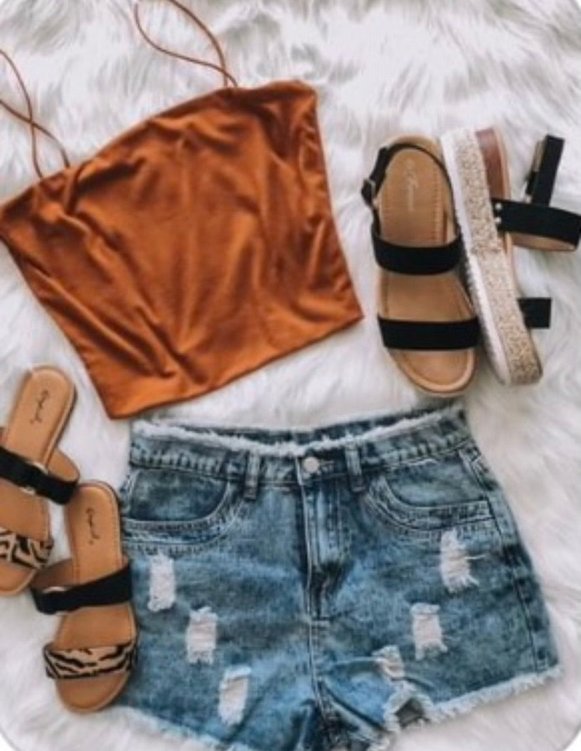Brown-Rust Colored Cropped Ribbed Top
