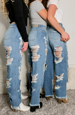 Cello- wide leg distressed jeans.