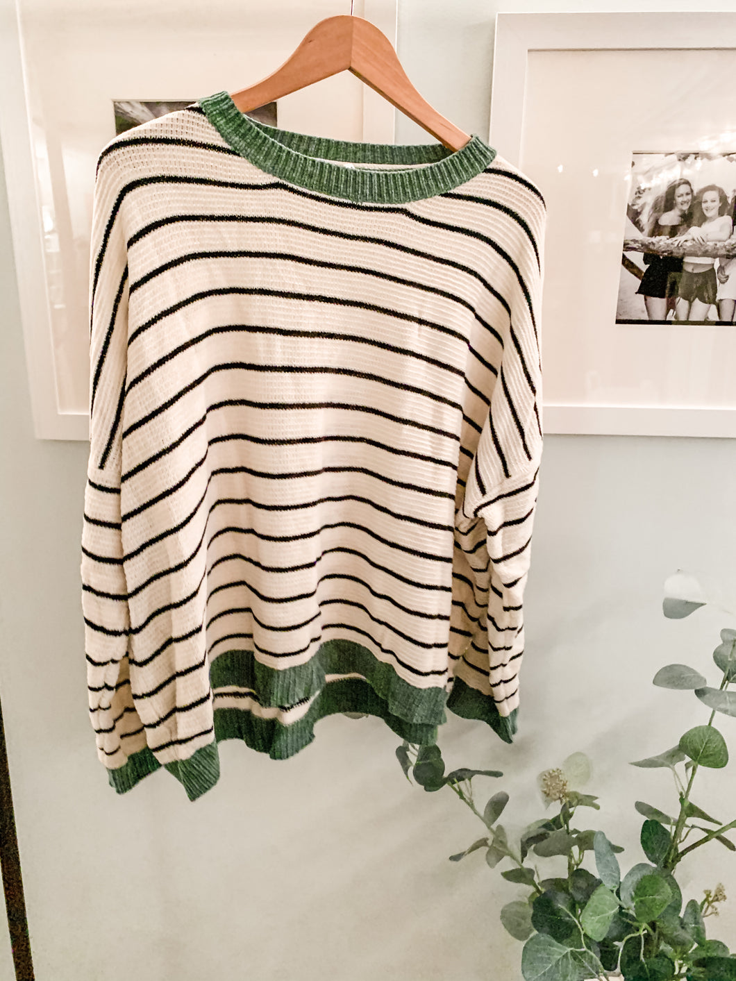 Cozy Oversizes Sweater black and white with green trim on neck and sleeves