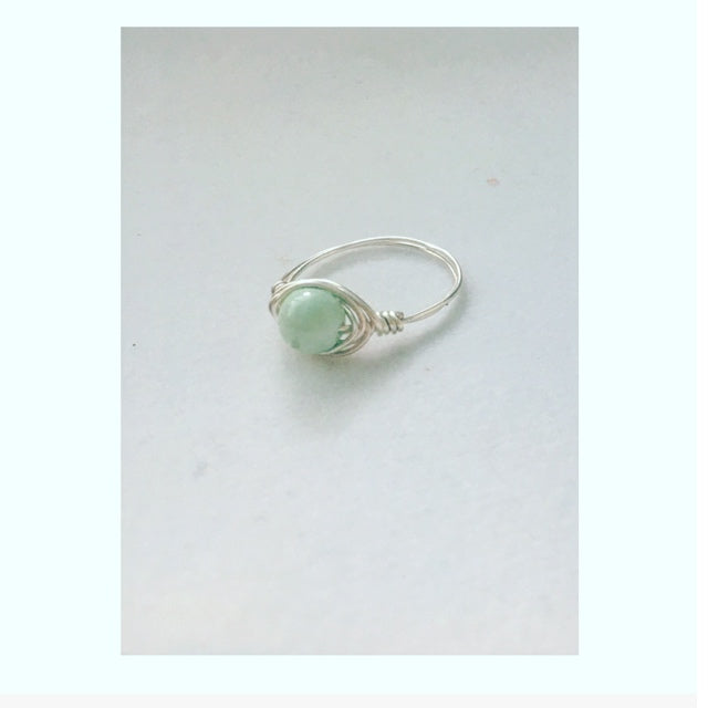 Silver Mint Bead Wire Wrap Ring (Include Size at Checkout In Note Section)