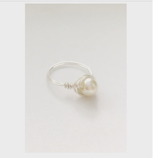 Silver and Pearl Bead Wire Wrap Ring (Include Size at Checkout In Note Section)