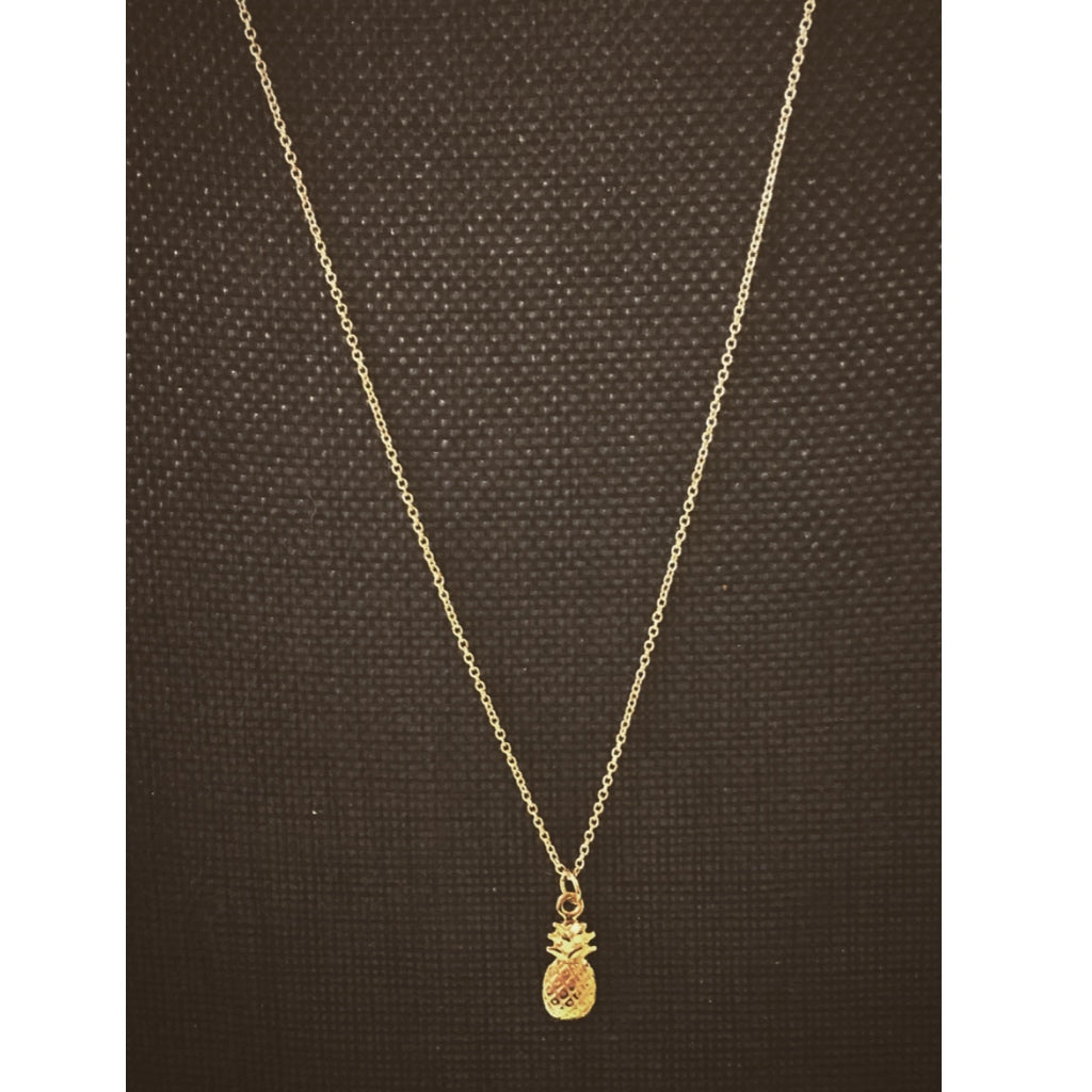 Necklace With small pineapple. ( an engraved circle charm can be added with the same metal of choice)