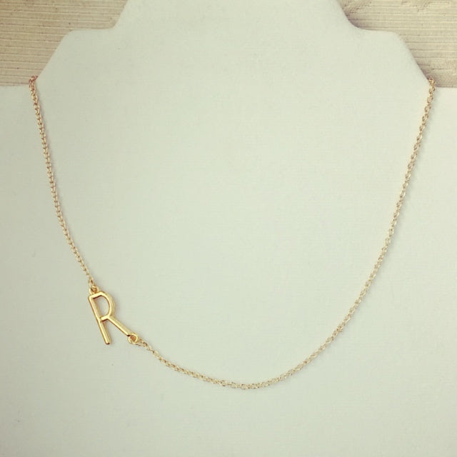 Personalized Initial SIDE Necklace (ONLY AVAILABLE IN GOLD PLATED)