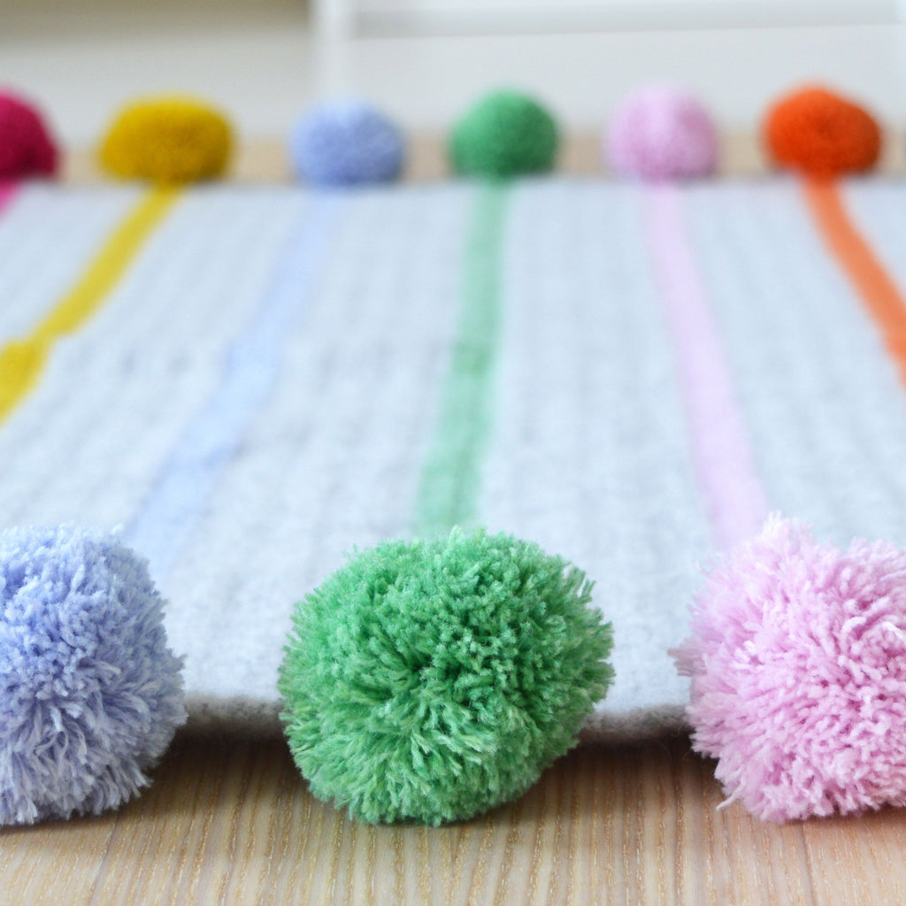 Pom Pom And Stripe Blanket Pattern Solid And Marl