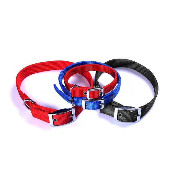 Adjustable Nylon Collar With Metal Buckle 10 PACK RED