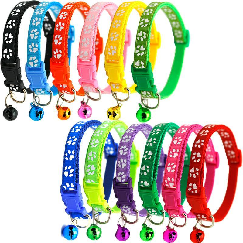 Extra Small XS Paw Print Puppy Collars 14 PACK - 7 Colors - Canis Gear