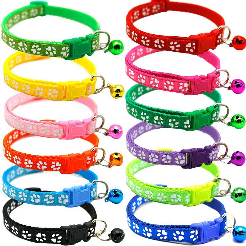 Extra Small XS Paw Print Puppy Collars 14 PACK - 7 Colors