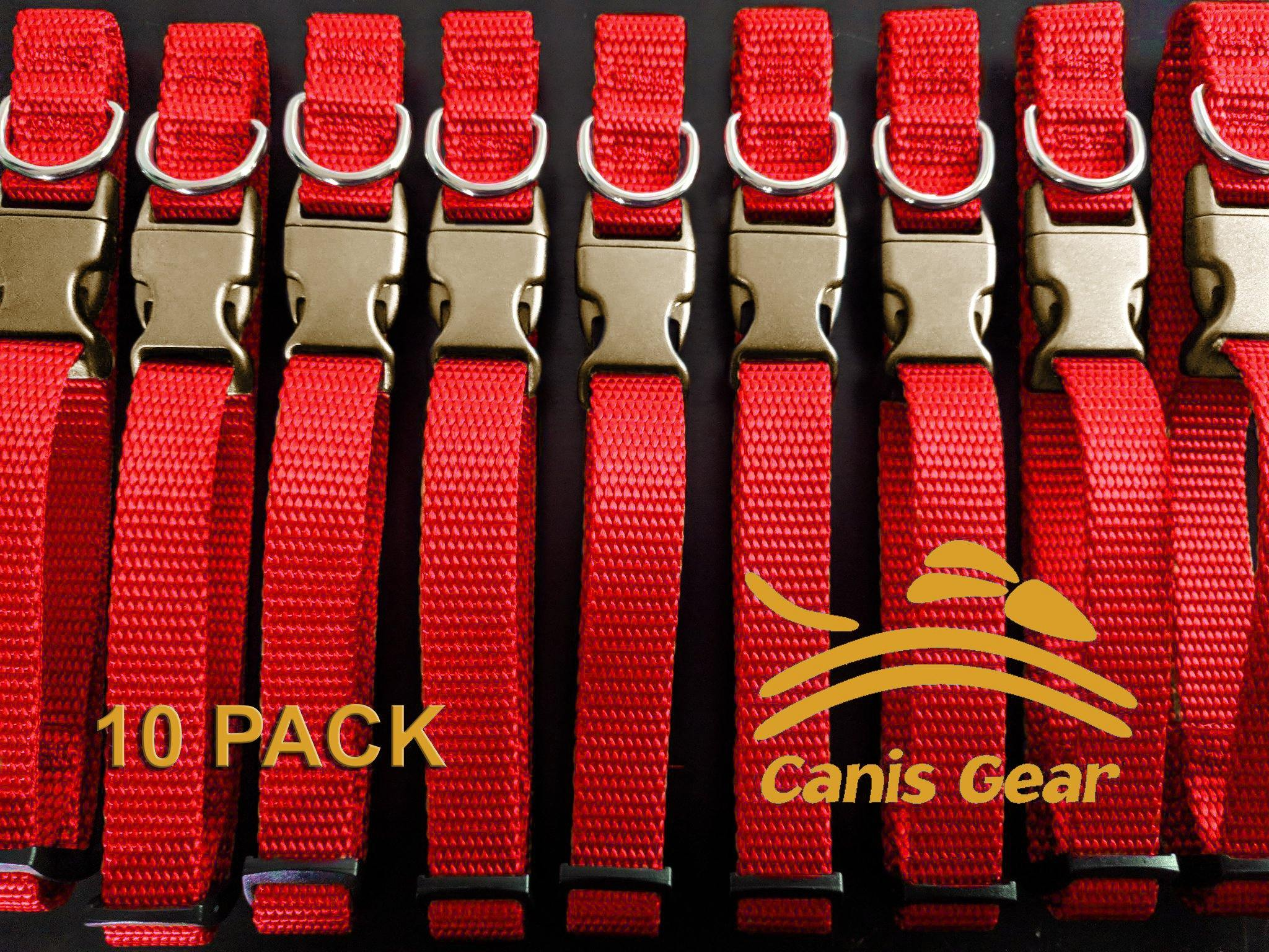 "Adjustable Collar METAL QR Large 1"" 10 Pack RED - Canis Gear"