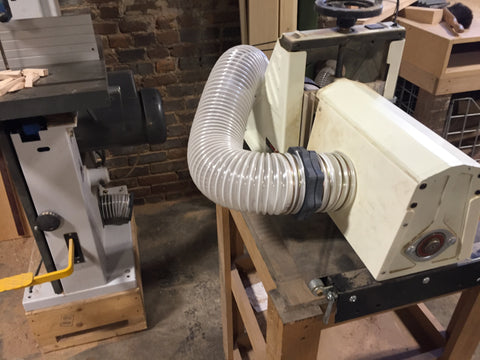 But 10% of the time the dust collection will service occasional machines like this thickness sander, which requires dust collection in order to operate.