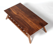 Original custom mid-century modern style coffee table with solid top slatted shelf walnut wood