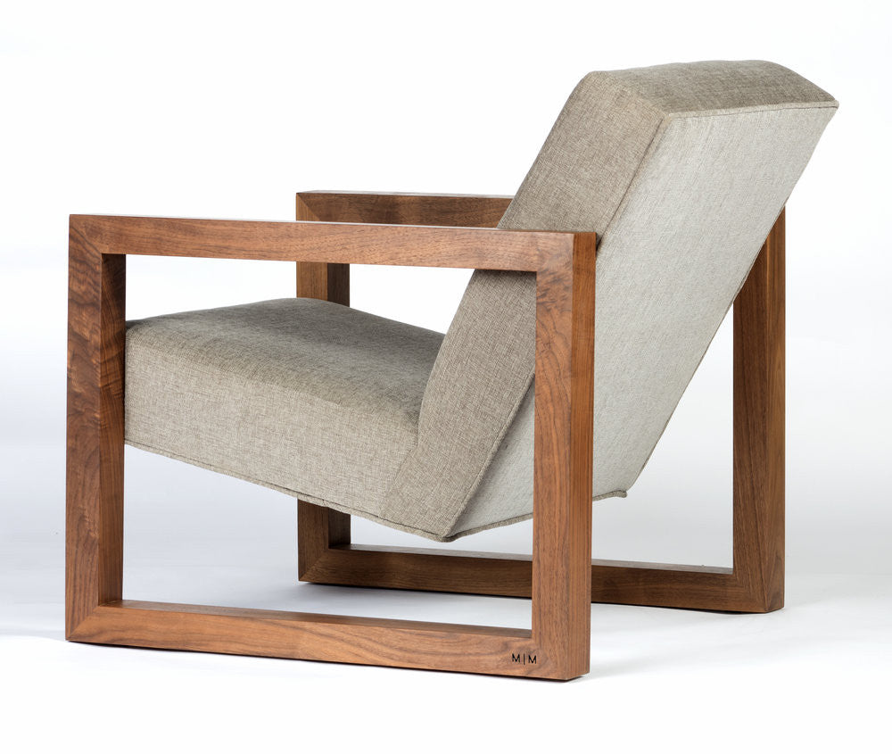 Original custom mid century modern style chair with square arms and legs reclined seat
