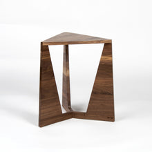 Original custom mid-century modern style side table with triangular top and three triangular legs available in oak or walnut