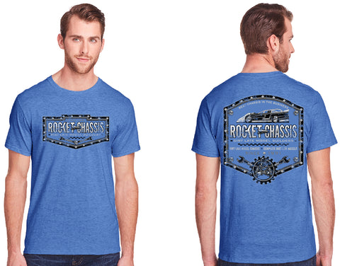 Rocket Chassis Builders Tee, Heather Blue