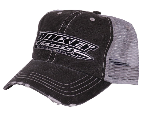 Distressed Mesh Back Hat, Gray/Black