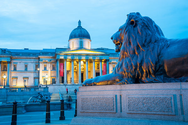 A lion statue outside the National Gallery in London, England. Credit: Adobe Stock Photo