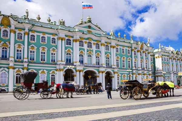 Outside the State Hermitage Museum & Winter Palace in St. Petersburg, Russia. Credit: Adobe Stock Photo