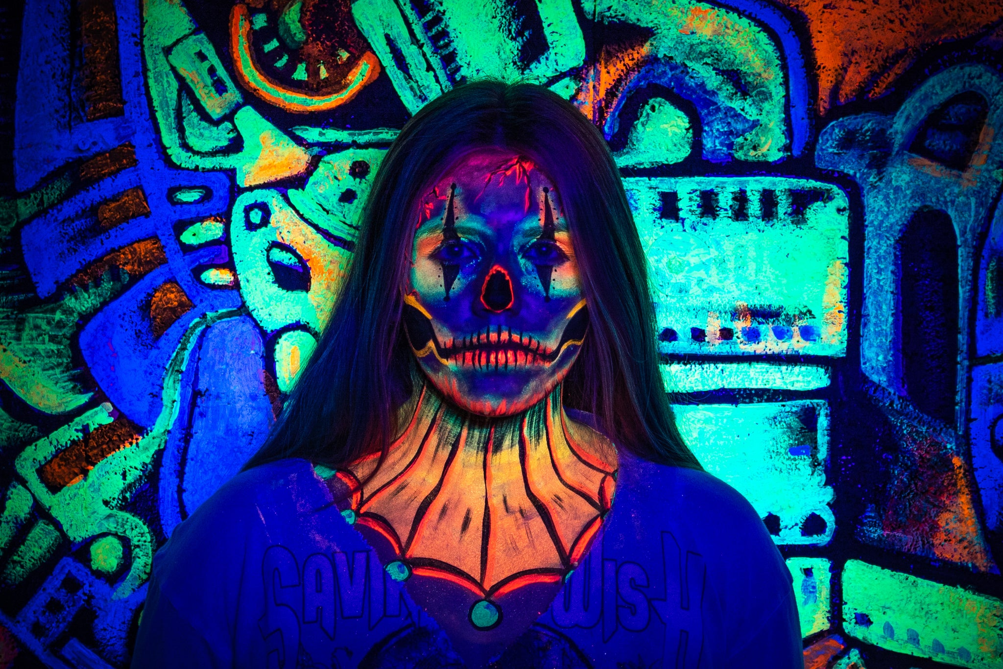 Completed Skull-Clown face paint in UV black light effects.