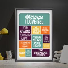 ''10 Things I Love About You'' Personalised Light Box