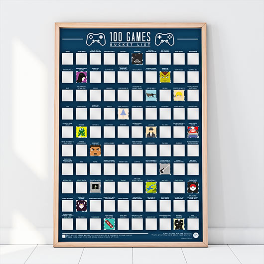 100 games scratch off poster